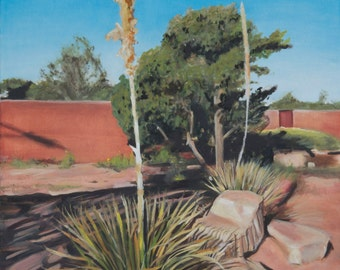 Yucca at Old Santa Fe Trail and Piñones Original Oil painting by New Mexico artist Raquel Underwood