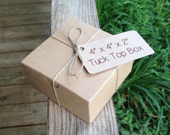 "SAMPLE BOX • 4"" x 4"" x 2"" Natural Kraft Tuck Top • Bakery Boxes • Gift Box  - Cupcakes • Cookies • Pastries • Single Donut Box"