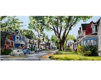 City Painting - Toronto Art - Oil Painting 12X24