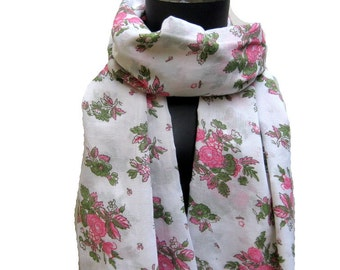 Multicolored,floral, long, lace scarf/ stole/ wrap in cotton fabric.