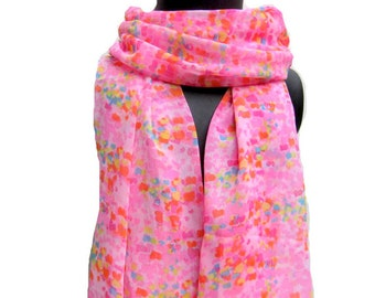 Multicolored scarf/ pink scarf/ fashion scarf/ abstract print scarf/ gift scarf / for her/ gift ideas.