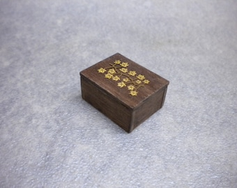 Doll House One Inch Wood Trinket Box with Brass Decoration