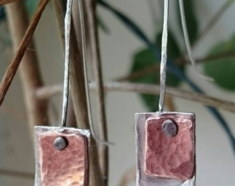 silver and copper earrings, planished copper, planished silver, granulated silver jewelry,  handmade silver jewelry. Silver wire jewelry