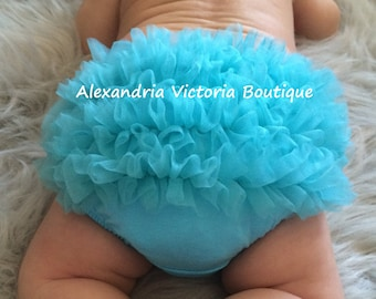 TURQUOISE BABY BLOOMER, chiffon ruffle diaper cover, photo prop, newborn ruffle bloomer-ready to ship!