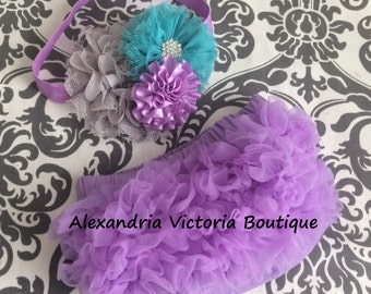 LAVENDER HEADBAND and BLOOMER set, baby headband and chiffon ruffle diaper cover, lavender, gray & teal baby set, photo prop, shabby chic