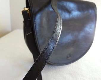 Vintage 1980's Black Leather Handbag Made In Italy By 'Charter Club' - Cute!!