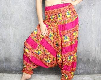Harem Pants Womens / Boho Pants / Hippie Pants / Yoga Pants / Festival Clothing / Jumpsuit / Bohemian Trouser / Gypsy Baggy Pants HR282