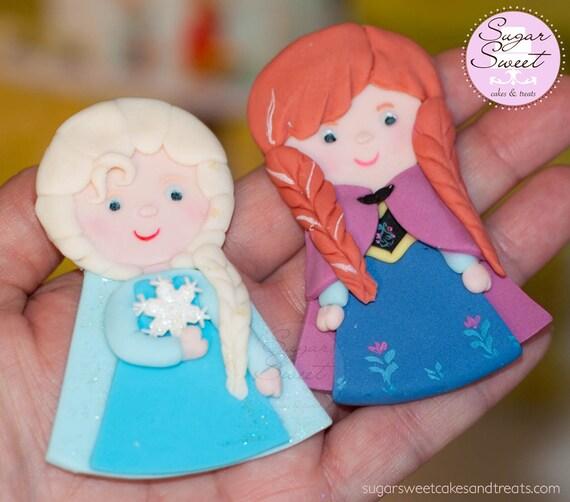 Etsy Frozen Cake Decorations : Items similar to Princess Elsa Anna Cake Toppers, Fondant ...