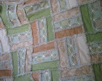 Beige, brown and green adult size rag quilt throw, reversible