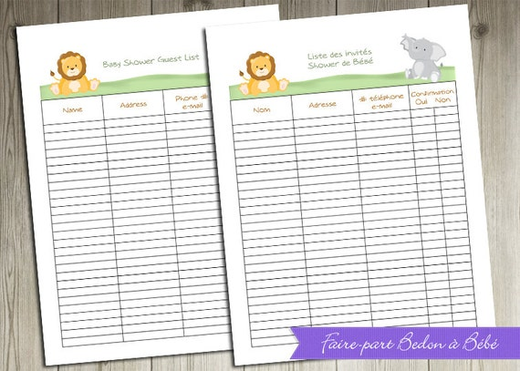 Superb image in free printable baby shower guest list
