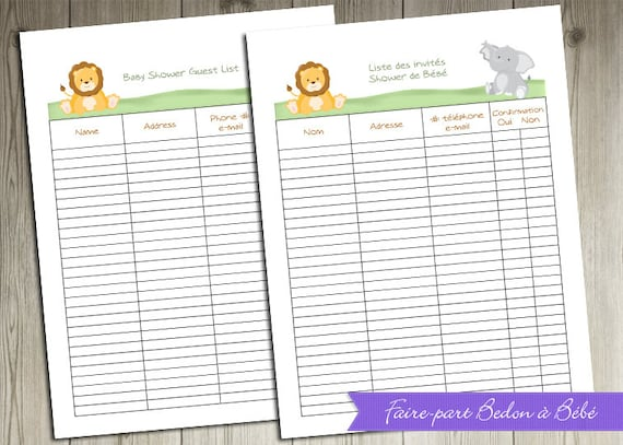 Delicate image pertaining to free printable baby shower guest list