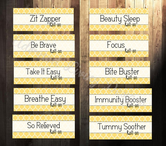 Universal image in printable essential oil labels