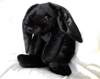 Black Rabbit plush, stuffed animal BUNNY black, luxury soft toy bunny, cuddly rabbit decor black, unique handmade bunny ooak MADE to ORDER