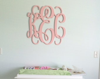 "Wooden Letters, PAINTED Monogram,All Sizes available 22""Tall, Home Decor, Wooden Monogram,Script Monogram,Wedding Decor"