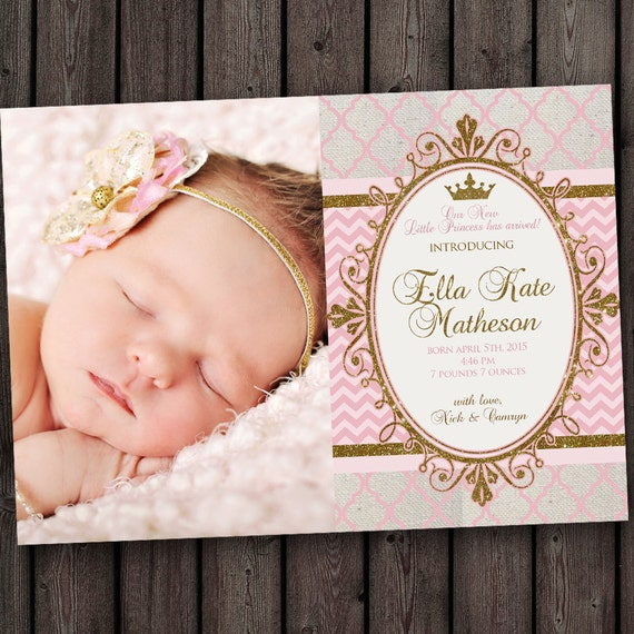 Royal Princess Baby Girl Baby Announcement With FREE Wording