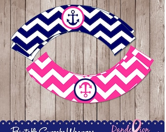 Hot Pink Blue Anchor Nautical Baby Shower Birthday or Any Occasion Digital Printable Cupcake Wrappers DIY
