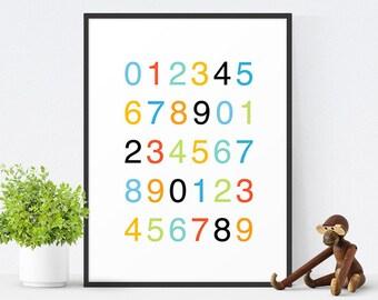 Printable Nursery Art, Kids Wall Art, Nursery Decor, Printable Kids Art, Helvetica Poster, Counting Numbers