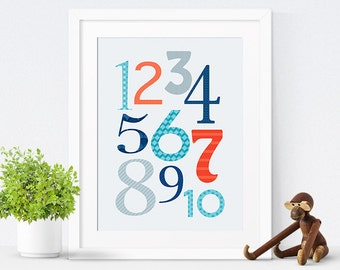 Printable Nursery Decor, Printable Nursery Poster, Kids Wall Art, Baby Boy, Navy Blue Nursery, Numbers Poster