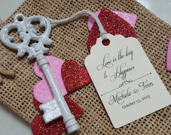 Personalized Favor Tags 2 1/2'', Wedding tags, Thank You tags, Favor tags, Bridal Shower Favor Tags, skeleton key, key of happiness