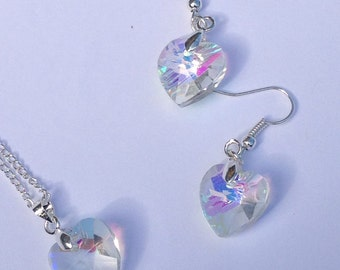 crystal heart pendant necklace and matching earrings set