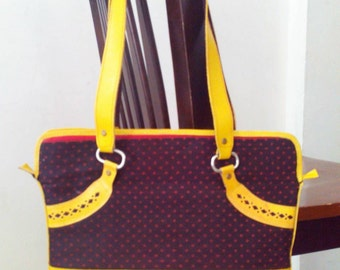 Handicraft Leather Handbag/Purse/Cotton Fabric Purse. Mustard Yellow Color/ Genuine Leather Shoulder Bag..