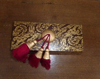 TWO BOX, asian design, red, black and gold, with pompoms, wood