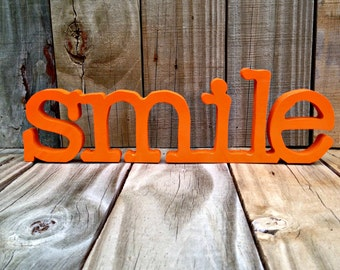 Wood smile  sign wall hanging , freestanding. home decor, wall decor