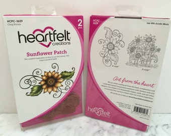 Heartfelt Creations Cling Rubber Stamp Set ~ Sunflower Patch, HCPC3629