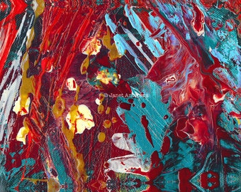 Comic Book Hero Fine Art Print, Abstract Painting, Modern Art, Red Painting, Red White and Blue