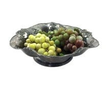 """Large 11"""" Antique Silverplate Centerpiece Serving Bowl with Pierced Leaf & Vine Design by Pairpoint Mfg, Quadruple Plate Silver"""