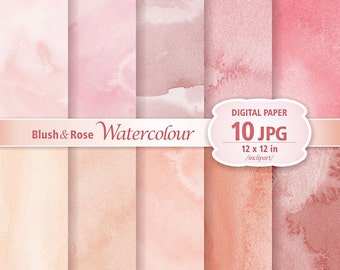 Blush & Rose Watercolour Digital Paper Clip Art. Set of 10 JPG watercolor backgrounds / digital papers. Printable. Instant download.