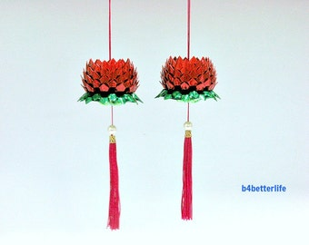 2pcs Size Small Red Color Origami Hanging Lotus. (4D Glittering paper series).