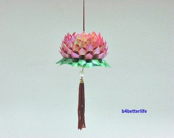 A Piece of Medium Size Red Color Origami Hanging Lotus. (TX paper series). #FLT-151.