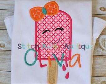 Summer Popsicle Lady Machine Applique Design