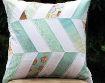 Quilted Pillow Cover, Blue White Pillow Sham, Chevron Pillow Cover 18x18, Cushion Cover, Patchwork Pillow