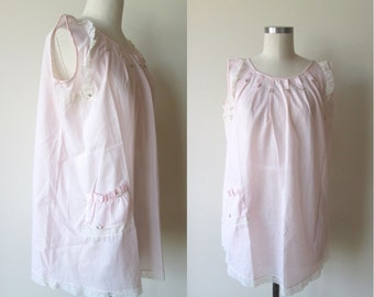 60's KATZ Cotton Babydoll nighty Pale Pink nightie with bloomers size medium