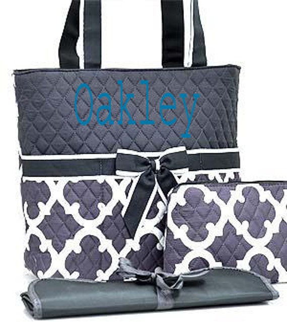 monogram diaper bag personalized gray by sewsassybootique on etsy. Black Bedroom Furniture Sets. Home Design Ideas