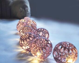 String Lights Fairy Light Christmas lights Wedding  Lighting Bedroom lighting 20 Lilac Lace Crocheted balls Night Lights