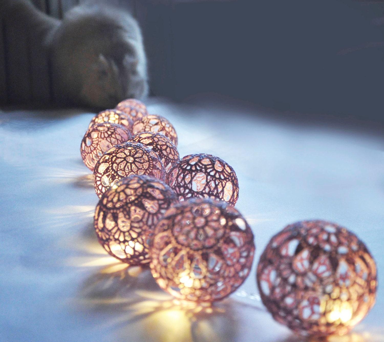 String Lights Fairy Light Christmas Lights Wedding Lightsing Bedroom Lighting 20 Lilac Lace Crocheted Balls Night