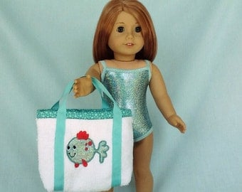 Aqua Iridescent Bathing Suit and Sparkly Fish Beach Bag for American Girl/18 Inch Doll