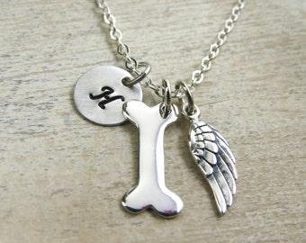 Dog memorial necklace, sterling silver dog memorial necklace, personalized pet memorial necklace, angel wing, dog bone neckalce