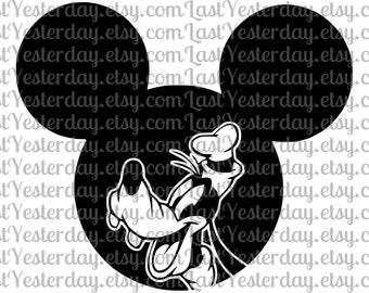 Goofy Mickey Head DIGITAL DOWNLOAD svg dxf jpg png