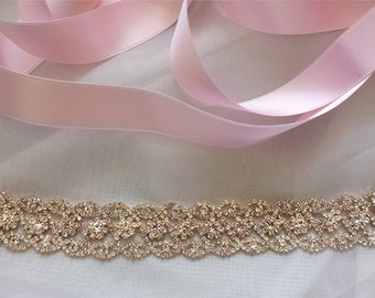 Rose Gold Bridal Belt, Crystal Bridal Sash