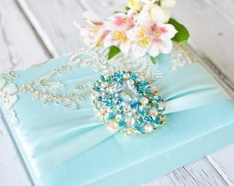 Wedding Invitation - Light Blue - Aqua Blue Silk Luxury - Couture Event Invitation