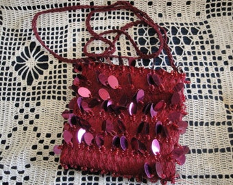 Red Hat Society Fabric And Sequins Tote/Handbag Shoulder Purse
