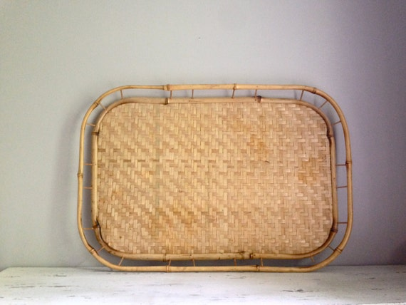 Bamboo Rattan Serving Tray / coffee table tray