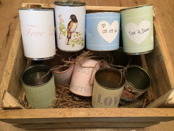Wedding car tin can labels. Vintage wedding decorations