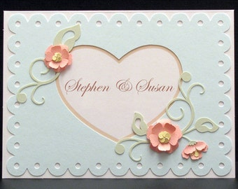 Personalized Wedding Card - Handmade Wedding Card with flower embellishments