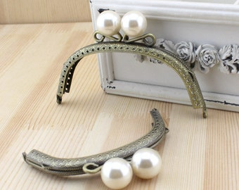 1 PCS, 12.5cm / 5 inch, or 10.5cm / 4.2 inch Width Curved Solid Cute Pearl Whited Beaded Bronze Kiss Clasp Lock Purse Frame, K274