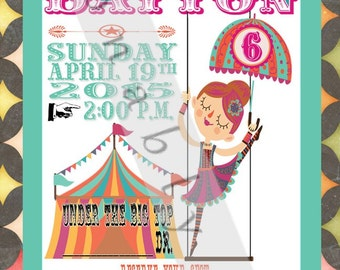 Digital print at home Circus/Carnival girl acrobat birthday party invitations